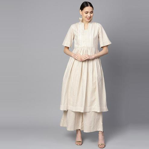 Indo Era - Off White Printed Anarkali Kurtas