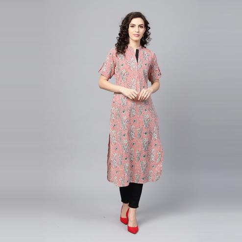 Indo Era - Red Printed Straight Kurtas