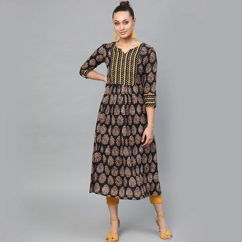 Indo Era - Black Printed Anarkali Kurtas