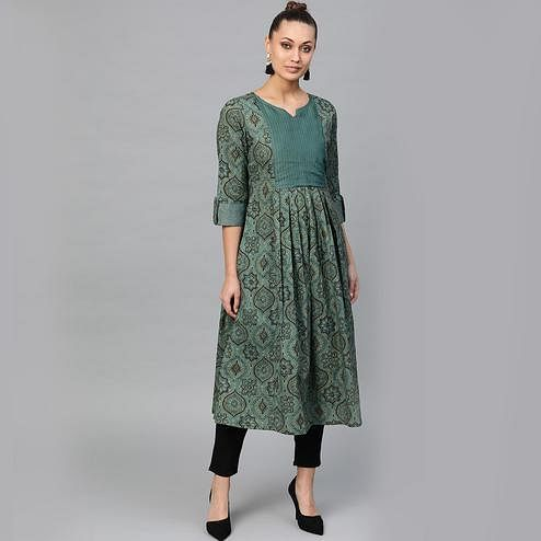Indo Era - Green Printed Anarkali Kurtas