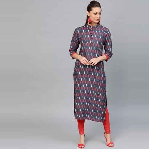 Indo Era - Navy Blue Printed Straight Kurtas