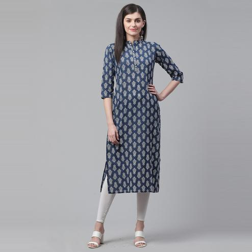 Indo Era - Blue Printed Straight Kurtas