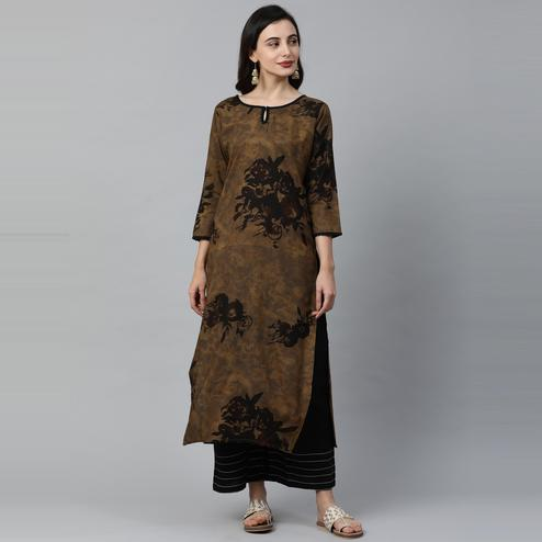 Indo Era - Brown Printed Straight Kurtas