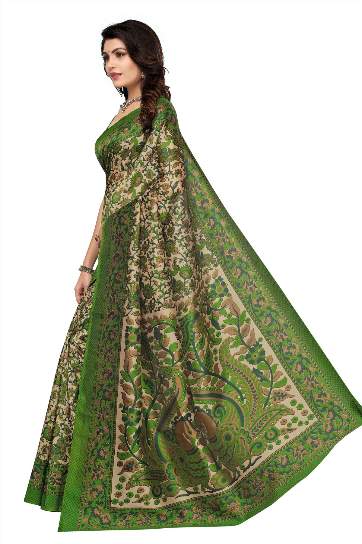 Green Festive Wear Kalamkari Printed Art Silk Saree