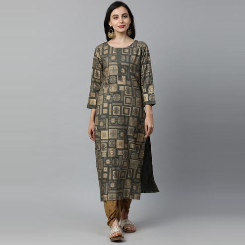 Indo Era - Green Geometric Foil Printed Straight Kurtas