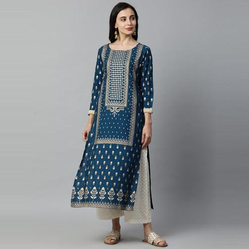 Indo Era - Teal Blue Foil Printed Straight Kurtas