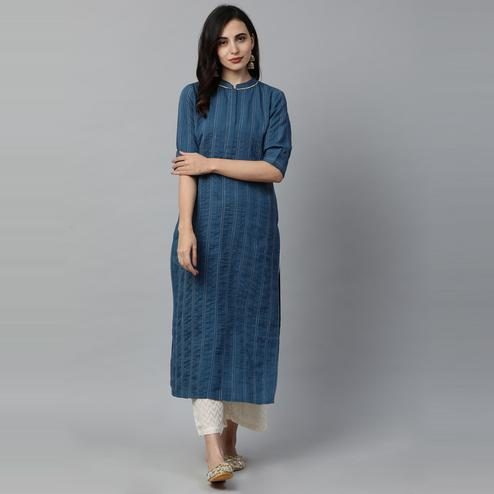 Indo Era - Blue Solid Straight Kurtas