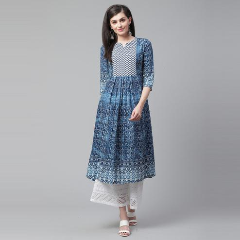 Indo Era - Blue Printed Anarkali Kurtas