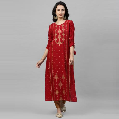 Indo Era - Red Foil Printed Straight Kurtas