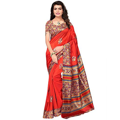 Orange Festive Wear Kalamkari Printed Bhagalpuri Silk Saree