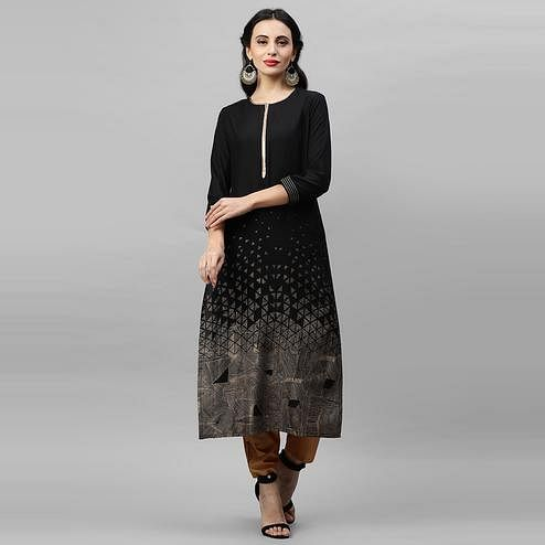 Indo Era - Black Foil Printed Straight Kurtas