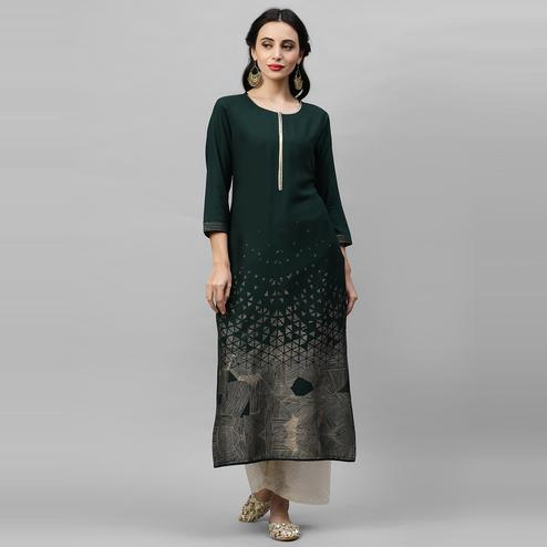 Indo Era - Green Foil Printed Straight Kurtas