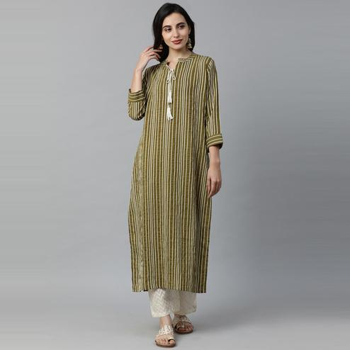 Indo Era - Green Striped Straight Kurtas