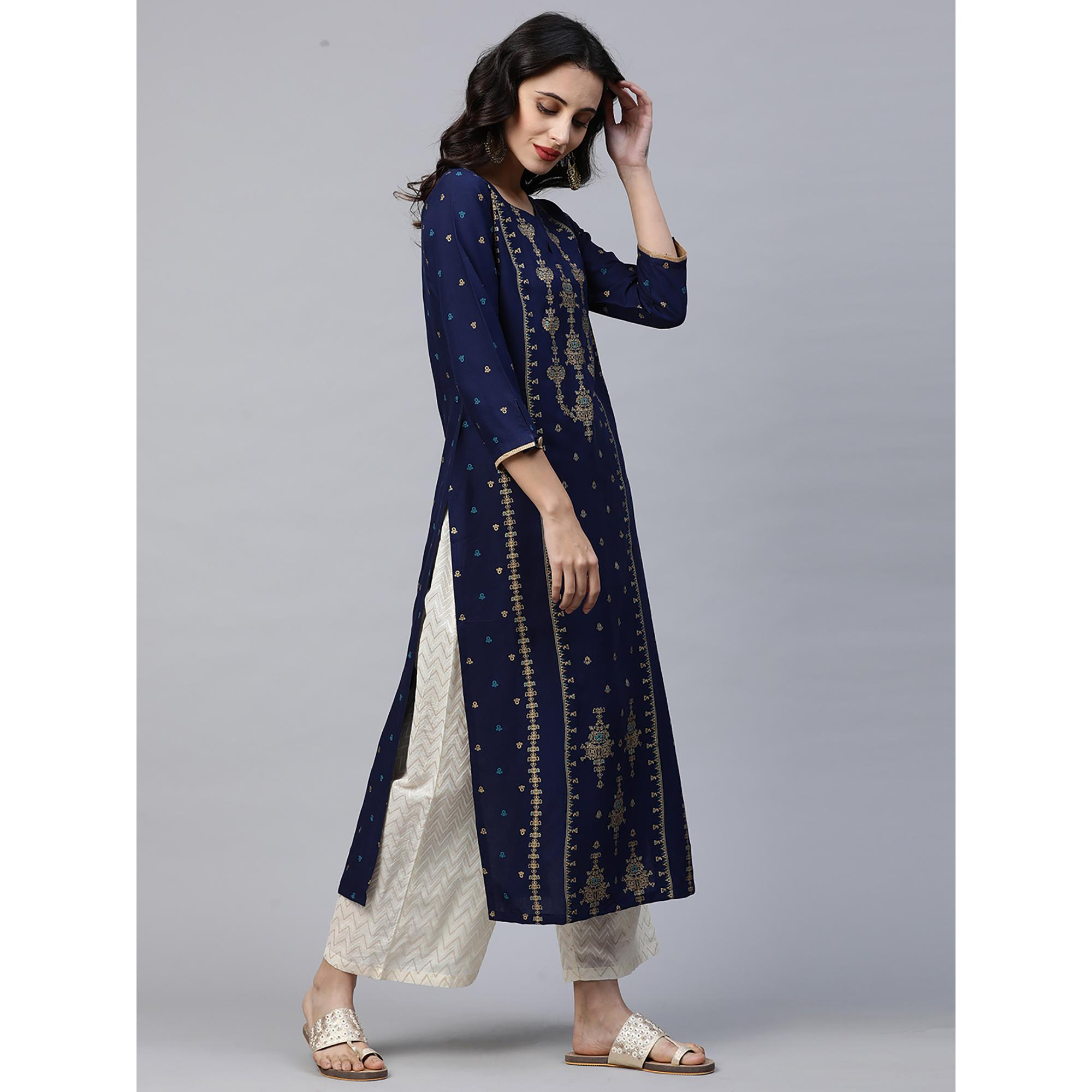 Indo Era - Blue Foil Printed Straight Kurtas