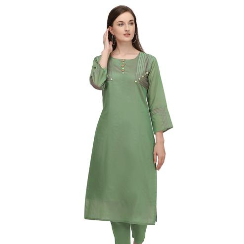 Innovative Green Colored Partywear Embroidered Viscose Kurti
