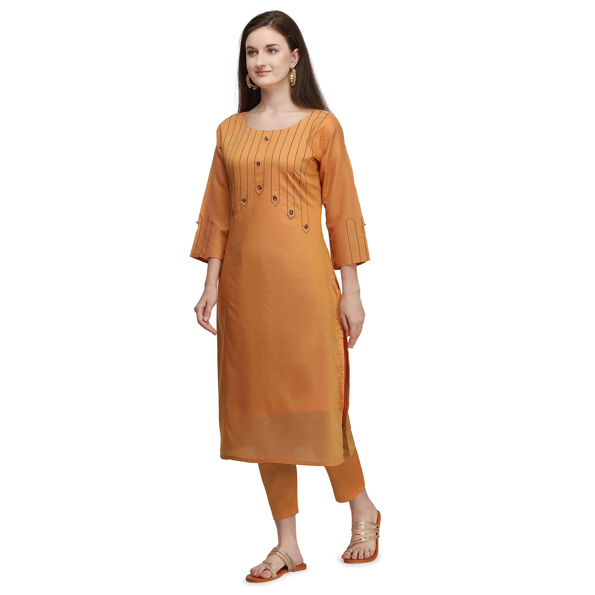 Eye-catching Orange Colored Partywear Embroidered Viscose Kurti