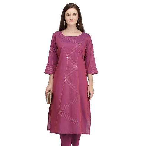 Fantastic Mauve Colored Partywear Embroidered Viscose Kurti