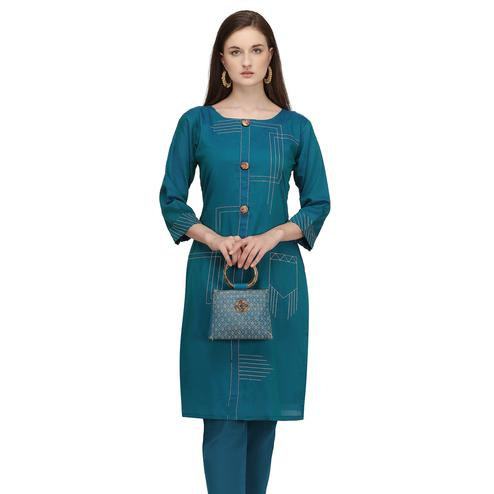 Amazing Teal Green Colored Partywear Embroidered Viscose Kurti