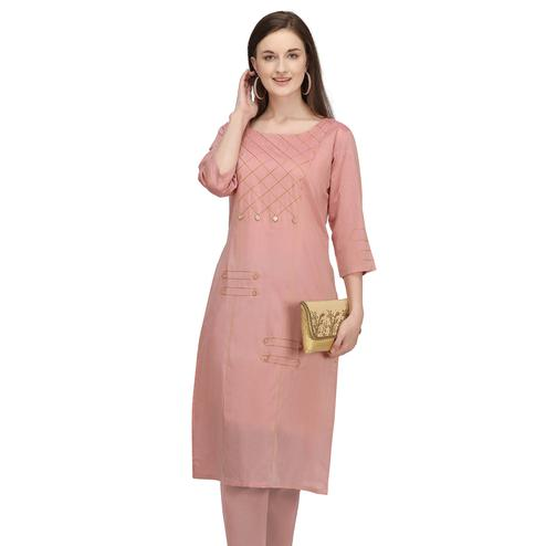 Gorgeous Pink Colored Partywear Embroidered Viscose Kurti