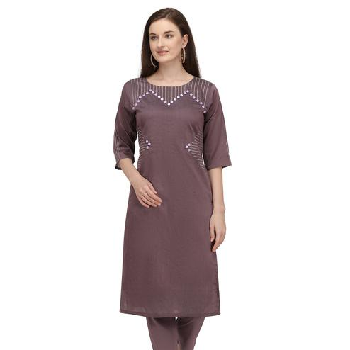 Ideal Grey Colored Partywear Embroidered Viscose Kurti