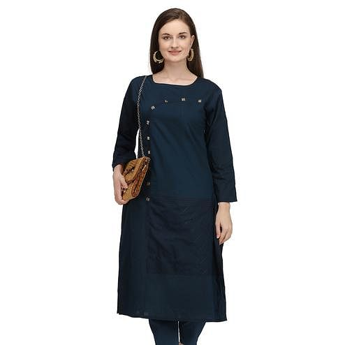 Imposing Navy Blue Colored Partywear Embroidered Viscose Kurti