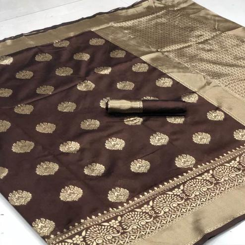 Staring Coffee Brown Colored Festive Wear Woven Banarasi Silk Saree