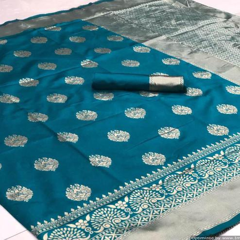 Surpassing Rama Colored Festive Wear Woven Banarasi Silk Saree
