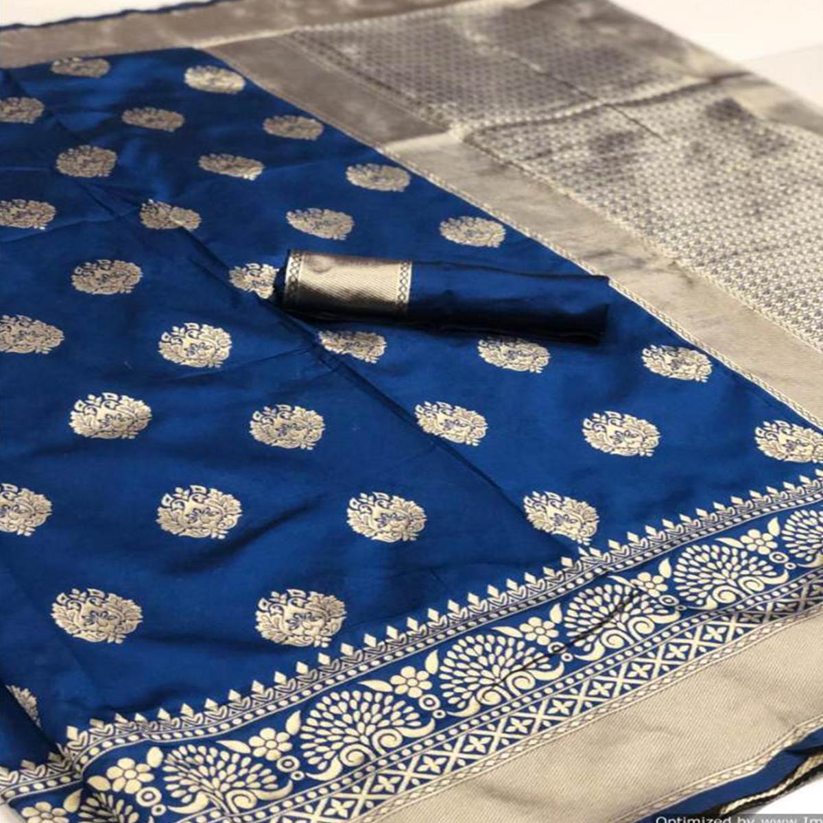 Desirable Royal Blue Colored Festive Wear Woven Banarasi Silk Saree