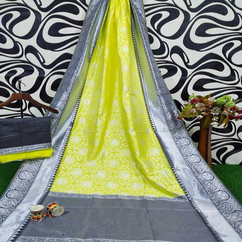 Radiant Lemon Colored Festive Wear Woven Soft Lichi Silk Saree