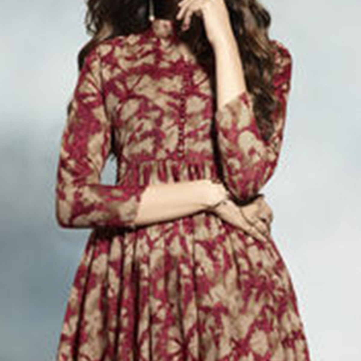 Attractive Maroon Printed Cotton Kurti