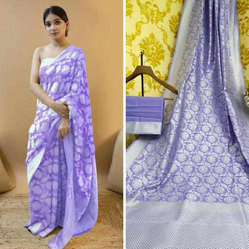 Exceptional Lavendar Colored Festive Wear Woven Soft Lichi Silk Saree