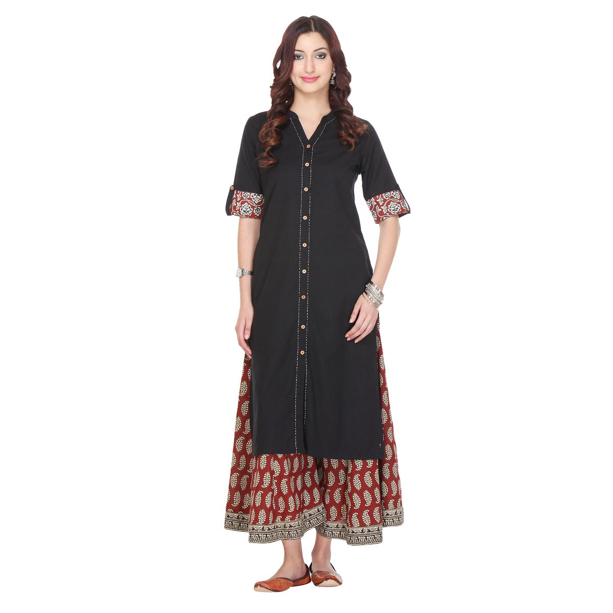Black Button Placket Stitched Kurti
