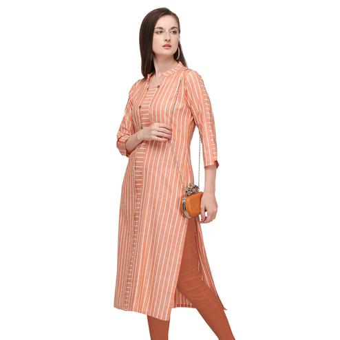 Capricious Peach Colored Casual Wear Pure Cotton Kurti