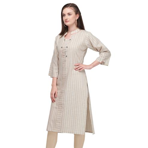 Entrancing Light Beige Colored Casual Wear Pure Cotton Kurti