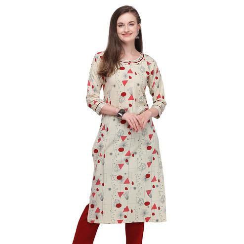 Groovy Beige - Maroon Colored Casual Wear Printed Cotton Kurti