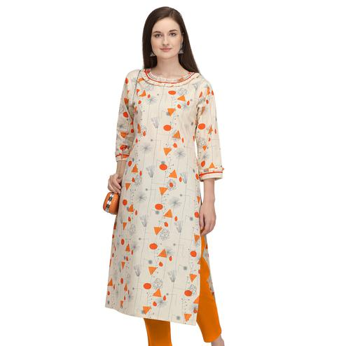 Adorning Beige - Orange Colored Casual Wear Printed Cotton Kurti