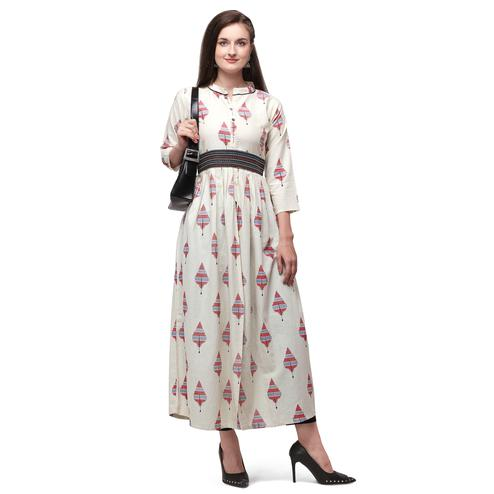 Graceful Offwhite - Red Colored Casual Wear Cotton Long Kurti