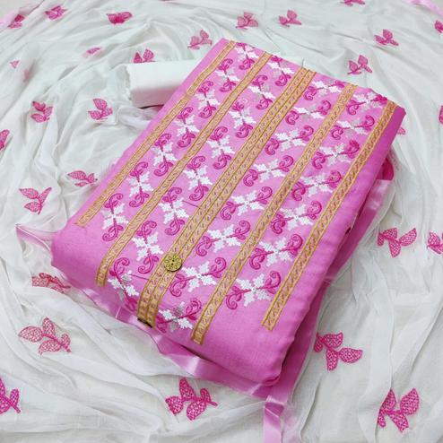 Innovative Pink Colored Partywear Embroidered Cotton Dress Material
