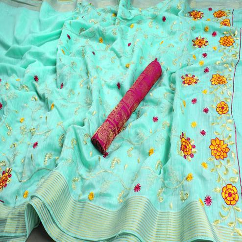 Appealing Turquoise Green Colored Festive Wear Embroidered Heavy Linen Saree