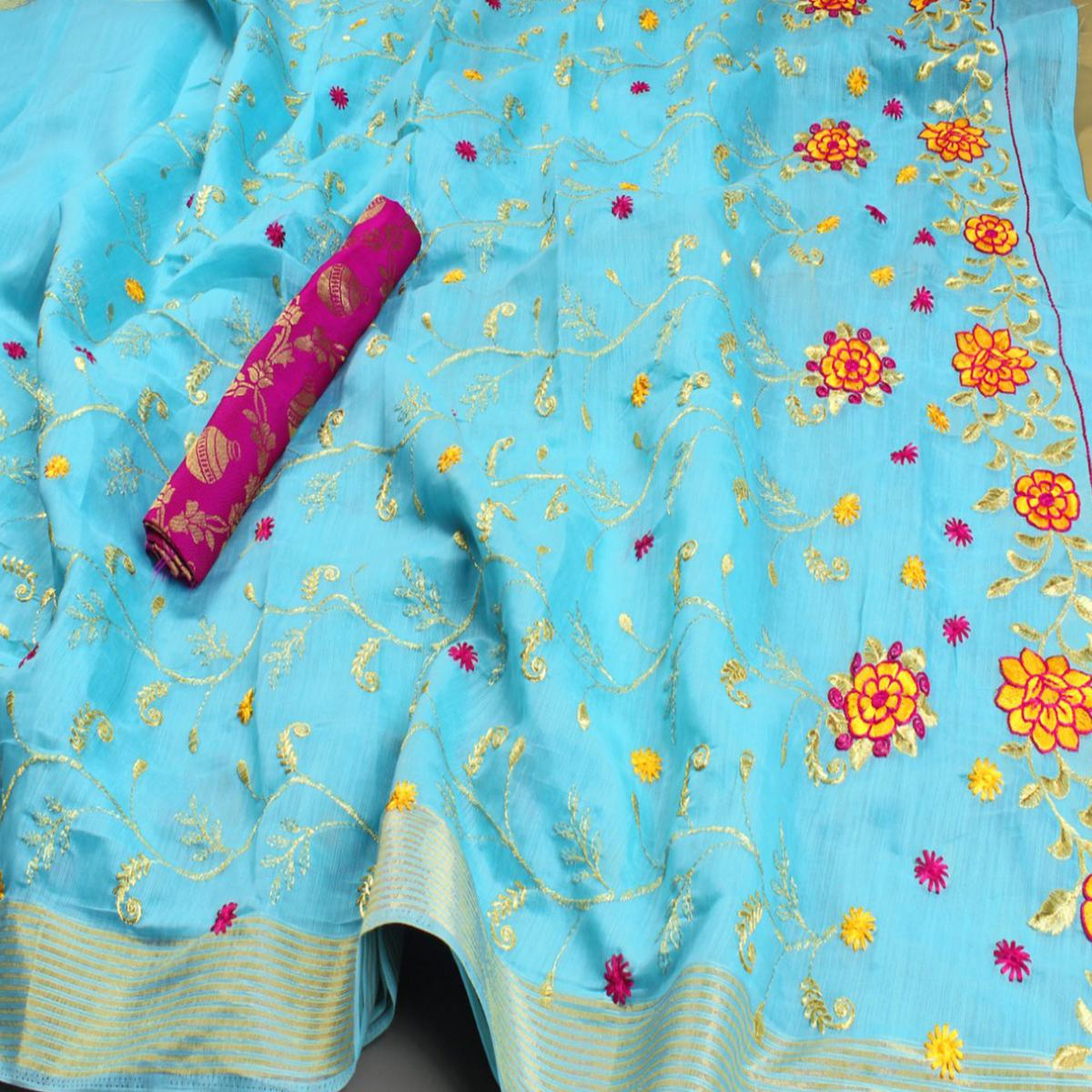 Capricious Sky Blue Colored Festive Wear Embroidered Heavy Linen Saree