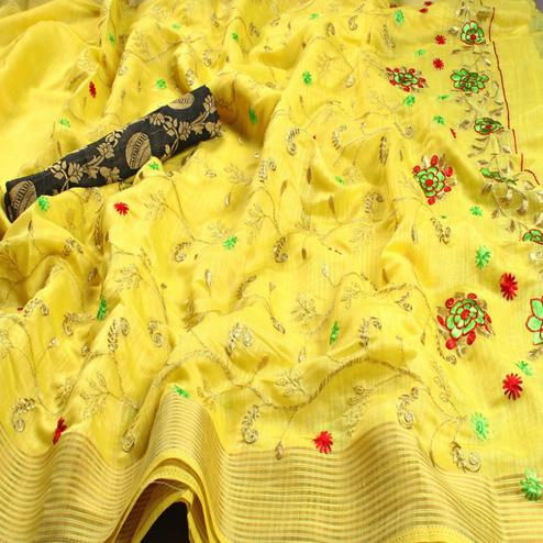 Groovy Yellow Colored Festive Wear Embroidered Heavy Linen Saree