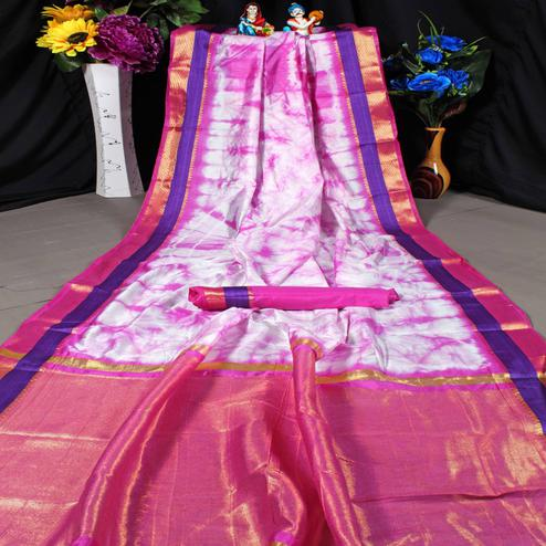 Adorning Pink Colored Festive Wear Woven Tussar Silk Saree