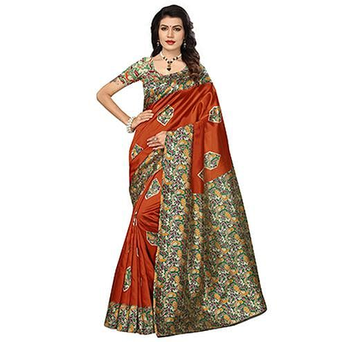 Rust Colored Festive Wear Kalamkari Printed Bhagalpuri Silk Saree