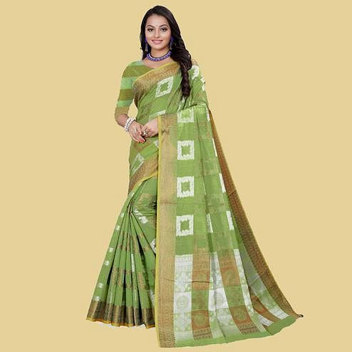 Graceful Pista Green Colored Partywear Printed Cotton Blend Saree