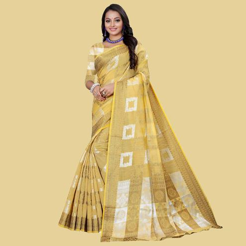 Blooming Coffee Colored Partywear Printed Cotton Blend Saree