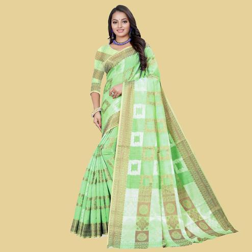 Charming Green Colored Partywear Printed Cotton Blend Saree