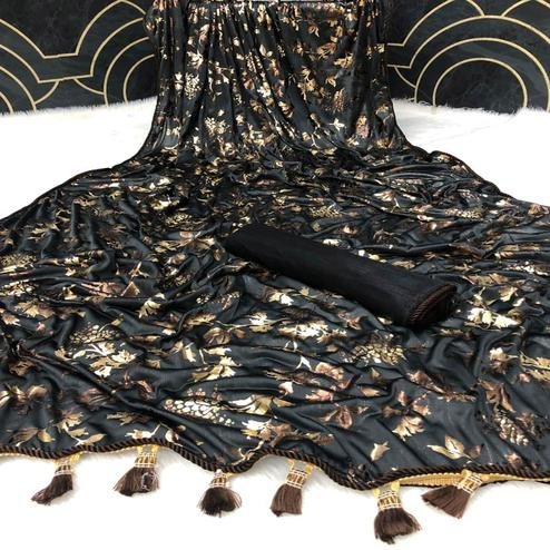 Eye-catching Black Colored Partywear Foil Printed Heavy Lycra Saree