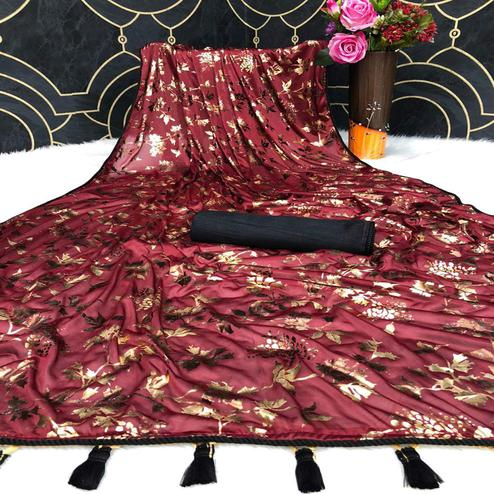 Fantastic Maroon Colored Partywear Foil Printed Heavy Lycra Saree