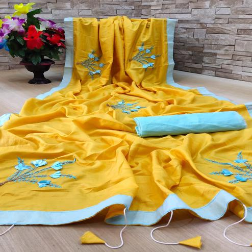 Ideal Yellow Colored Festive Wear Woven Dola Silk Saree