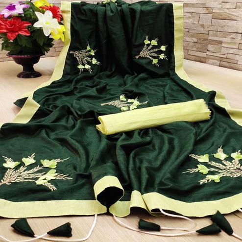 Lovely Dark Green Colored Festive Wear Woven Dola Silk Saree